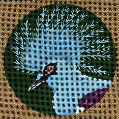 Needlepoint Handpainted Dede Coaster Bird Crowned Pigeon New Guinea 5.5""