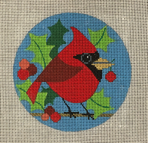 Needlepoint Handpainted Amanda Lawford CHRISTMAS Cutesy Cardinal Ornament 4""
