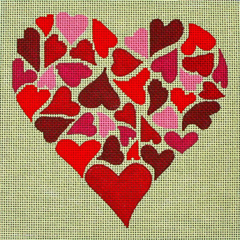 NEEDLEPOINT Handpainted Amanda Lawford MOSAIC Hearts 8x8