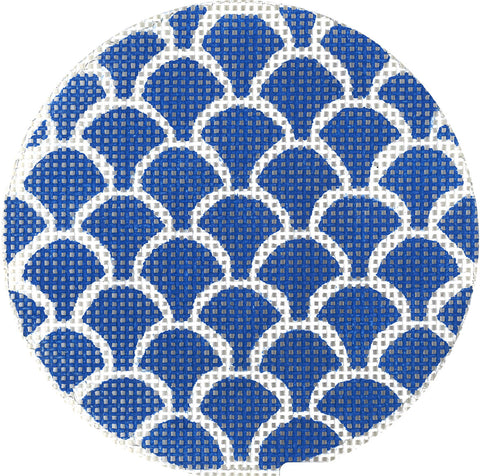 "Needlepoint Handpainted Canvas LEE Dark Blue SCALES 3.2"" BJ Size"