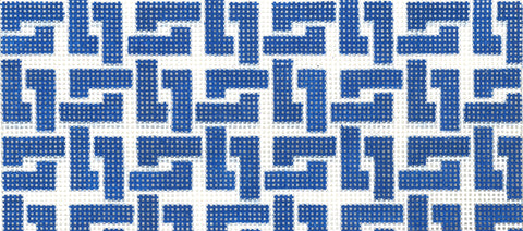 Needlepoint Handpainted Canvas LEE Dark Blue Square Chain 6.2 x 2.75 BB Size