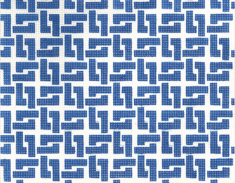 Needlepoint Handpainted Canvas LEE Dark Blue Square Chain 10.25 x 8.25 BF Size