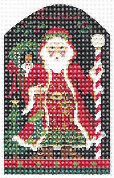 Needlepoint Handpainted Kelly Clark Christmas December Santa +SG