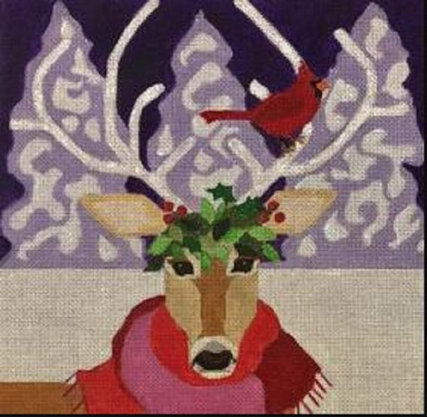 Needlepoint Handpainted CHRISTMAS Melissa Prince Deer and Cardinal 10x10