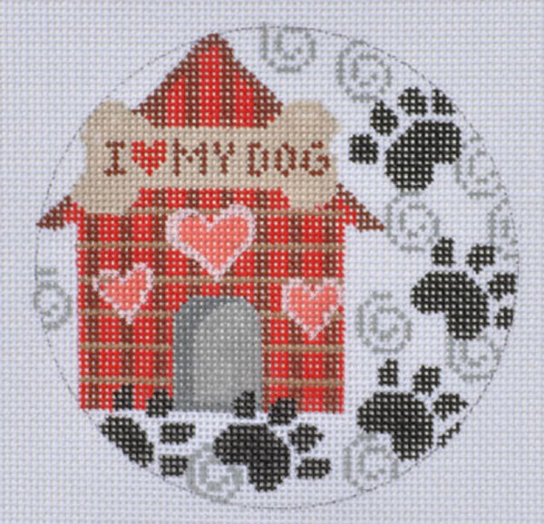 NEEDLEPOINT Handpainted CHRISTMAS Dog House Ornament CH Designs 4""