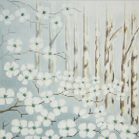 Needlepoint Handpainted Alice Peterson Dogwood 10x10