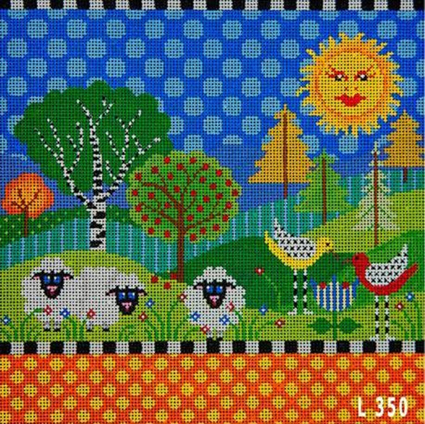 Needlepoint Handpainted JP Needlepoint Don't Sit Under Apple Tree 10x12