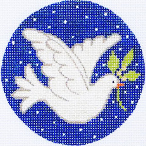 NEEDLEPOINT Handpainted Amanda Lawford CHRISTMAS Dove ORNAMENT
