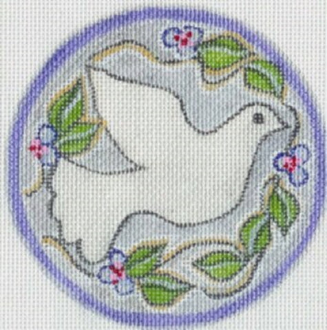 Needlepoint Handpainted CHRISTMAS Melissa Prince Dove Silver Ornament