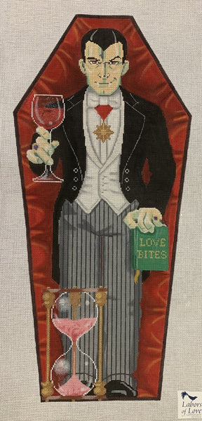 Needlepoint Handpainted Labors of Love HALLOWEEN Dracula in Coffin 12x36