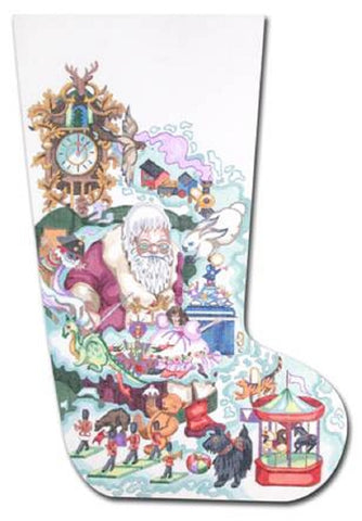 NEEDLEPOINT Handpainted Edie & Ginger Christmas Stocking Dreaming Santa