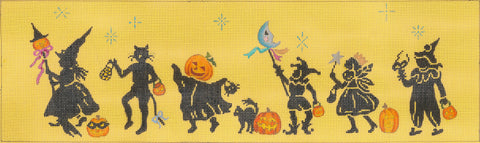 Needlepoint HandPainted Dede HALLOWEEN PARADE 17 x 5