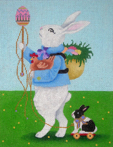 Needlepoint Handpainted Brenda Stofft EASTER BUNNY 7x9