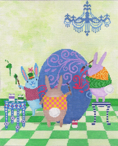 Needlepoint Handpainted CBK Easter Egg Painting Party 8x10