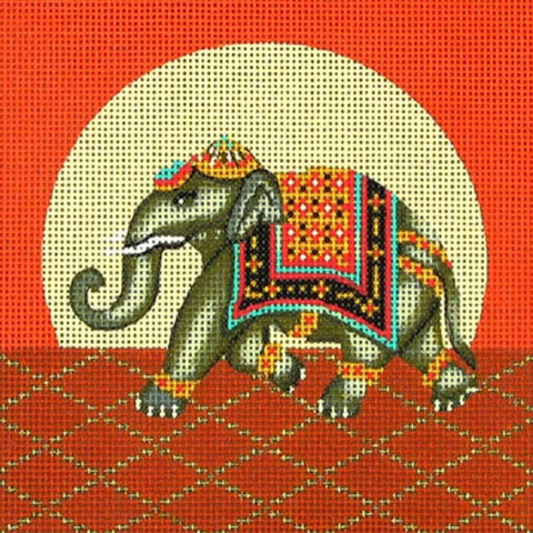 NEEDLEPOINT Handpainted Amanda Lawford ELEPHANT 5x5