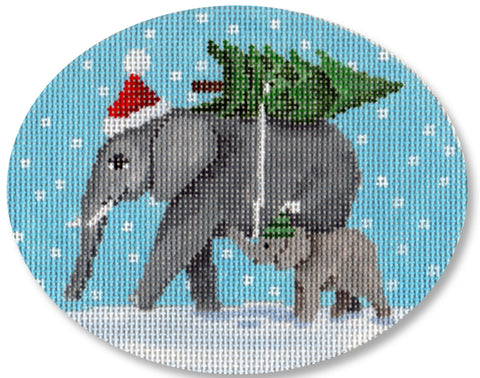 Needlepoint Handpainted Christmas Scott Church Elephants Ornament