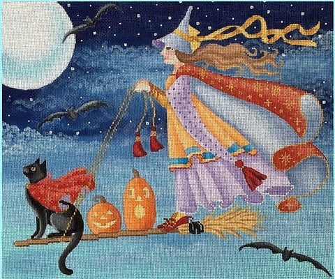 Needlepoint Handpainted Halloween Brenda Stofft Flying High 12x10