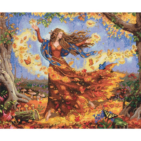 Counted Cross Stitch Dimensions Kit Fall Fairy 12x12