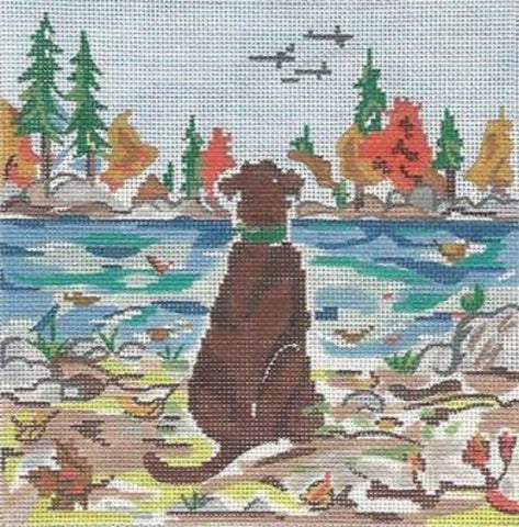 Needlepoint HandPainted Cooper Oaks Fall Observer 6x6