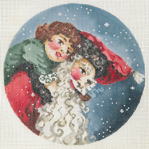 Needlepoint Handpainted Christmas JOY JUAREZ Father Christmas Tiny Tim