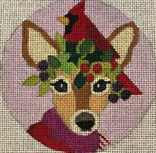 Needlepoint Handpainted CHRISTMAS Melissa Prince Fawn and Cardinal 4""