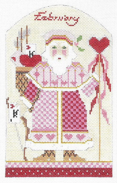 Needlepoint Handpainted Kelly Clark Christmas February Santa +SG