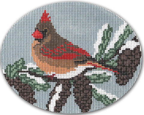 Needlepoint Handpainted CHRISTMAS CBK Cardinal Female ORNAMENT 5x4