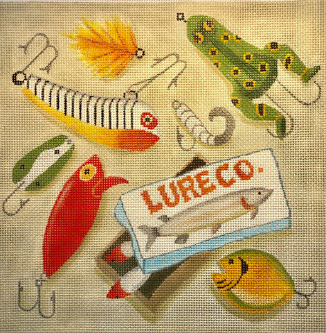 Needlepoint Handpainted Amanda Lawford Fishing Lures 10x10