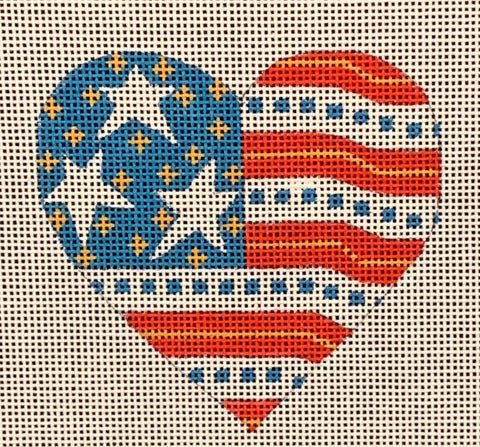 Needlepoint Handpainted CHRISTMAS Danji Flag Heart 3x3
