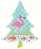 Needlepoint Handpainted KELLY CLARK Tree FLAMINGO Tropic w/ Stitch Guide Threads