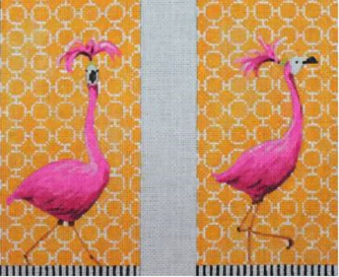Needlepoint Handpainted Colors of Praise Flamingo Eyeglass Case 9x7