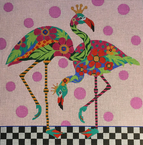 Needlepoint Handpainted Amanda Lawford FLAMINGOS 11x11