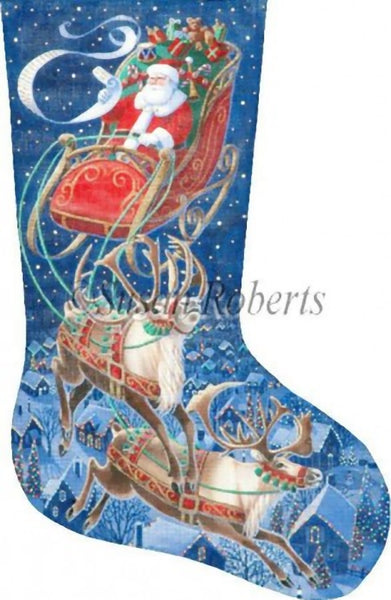Needlepoint Handpainted LIZ Goodrick Dillon Christmas Stocking Flying Stars 21""