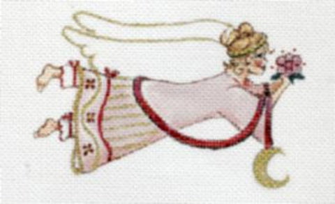 Needlepoint Handpainted CHRISTMAS Share Ones Ideas Flying Angel Pink 6x4