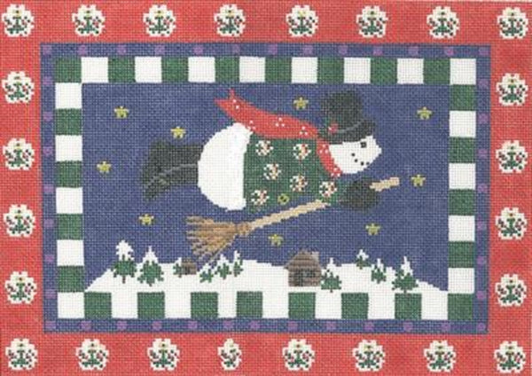 NEEDLEPOINT HandPainted CHRISTMAS Linda Ragno FLYING Snowman RED 10x14