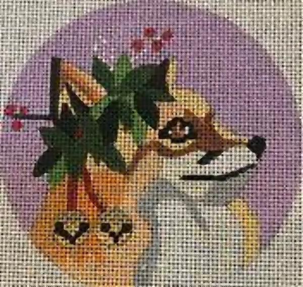 Needlepoint Handpainted CHRISTMAS Melissa Prince Fox with Bells 4""