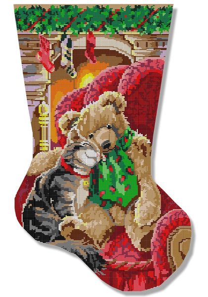 Needlepoint Handpainted Christmas Stocking CBK Friendship 12x22