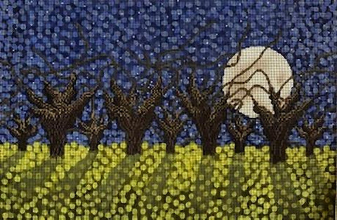 Needlepoint Handpainted Cooper Oaks Full Moon 18x12