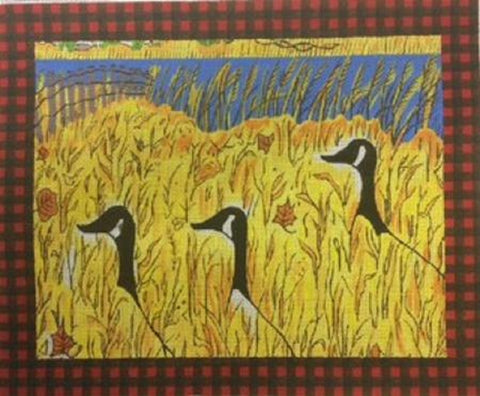 NEEDLEPOINT HandPainted Susan Wallace Barnes GEESE in Grass 10x12