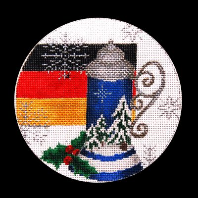 Needlepoint Handpainted Christmas TRUBEY Germany Ornament 5""