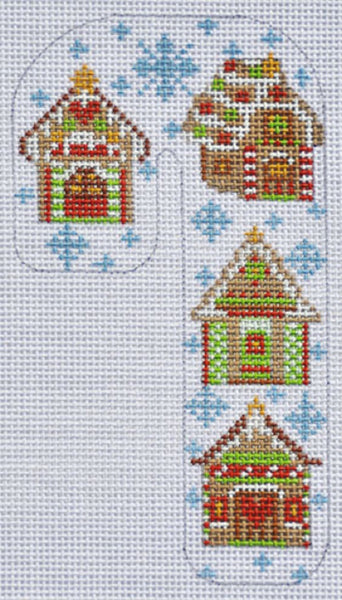 Needlepoint Handpainted CHRISTMAS Candy Cane Gingerbread House