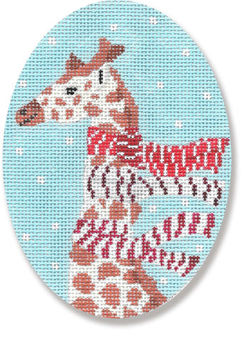 NEEDLEPOINT Handpainted CHRISTMAS Scott Church GIRAFFE w/ Scarves
