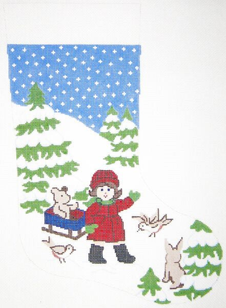 Needlepoint Handpainted Christmas STOCKING Girl w Sled 18""