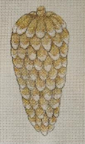 Needlepoint Handpainted CHRISTMAS Share Ones Ideas Gold Pinecone 5x2