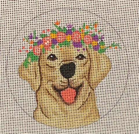 Needlepoint Handpainted CHRISTMAS Danji Golden Lab 4""