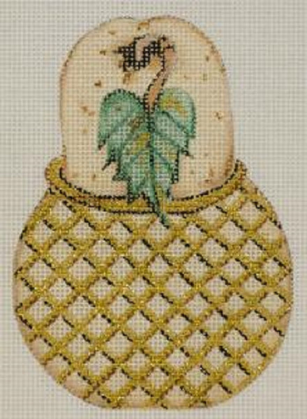 Needlepoint Handpainted CHRISTMAS Share Ones Ideas Golden Pear 5x3
