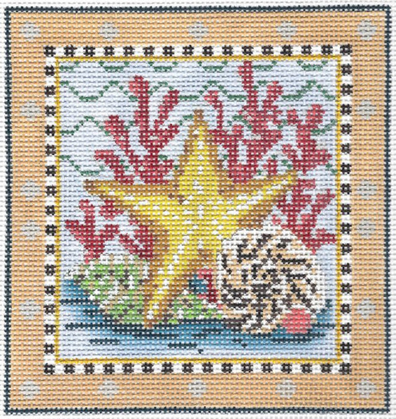 Needlepoint Handpainted Kelly Clark SEA Golden Starfish 6x6