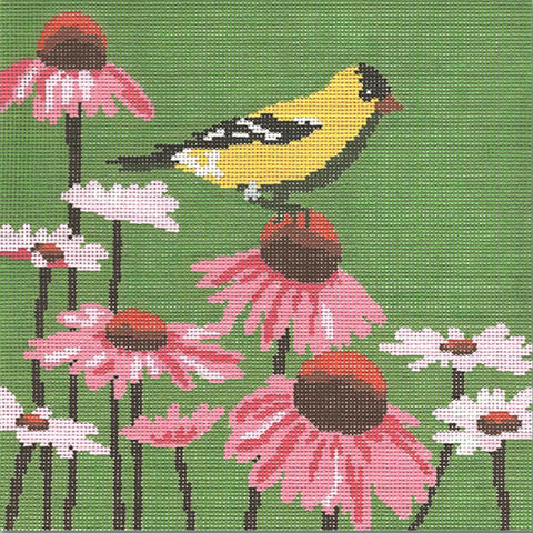 Needlepoint Handpainted CBK Goldfinch 10""