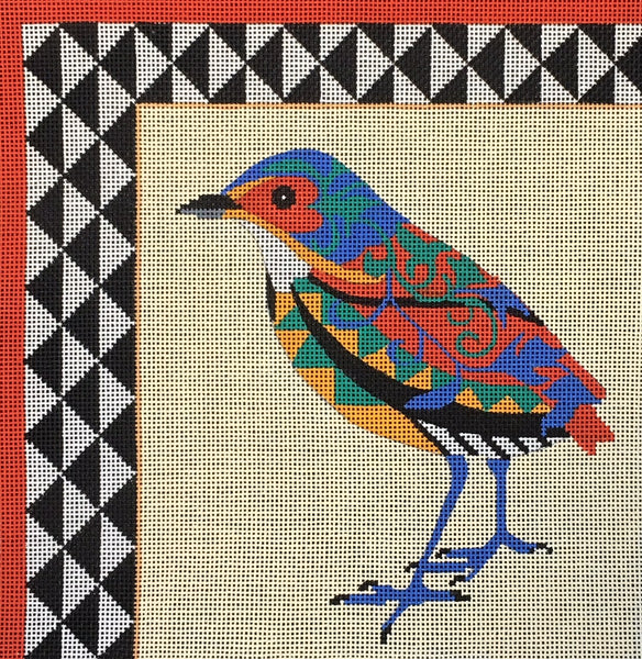 Needlepoint Handpainted Amanda Lawford GRAPHIC BIRD 2 8x8