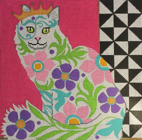 Needlepoint Handpainted Amanda Lawford GRAPHIC CAT 12x12
